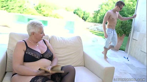 Fat grandma's tits covered with jizz